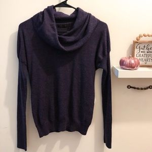 The Limited Deep Purple Cowl Neck Stretch Sweater